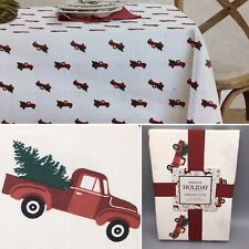 Envogue Christmas Tree Old Red Truck Cloth Tablecloth Holiday Cotton 60x84 NEW