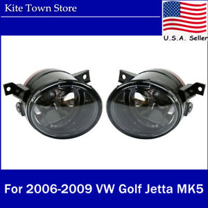 Pair of Aftermarket Front Fog Lights Lamp Left+Right For VW Golf Jetta MK5 06-09
