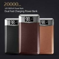 Portable 20000mAh External Dual USB Slim Power Bank 2LED Backup Battery Charger