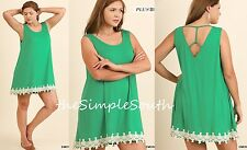 New UMGEE Green Crochet Lace Hem Strappy Back Tunic Tank Top Slip Mini Dress 1XL