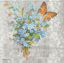 Lot de 2 Serviettes en papier Myosotis Papillon Decoupage Collage Decopatch