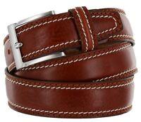 Men's Italian Leather Dress Casual Belt Made in Italy - Marrone, 42