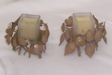 PartyLite Golden Leaves Candle Holder Pair with Square Glass Votive Holders