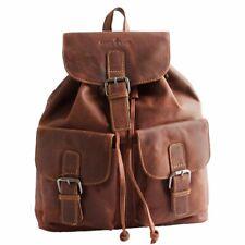 NEW Leather Backpack Drawstring Vintage City Travel Sandy Brown Men Women