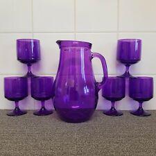 More details for vintage glass jug & wine glasses pitcher purple lilac amethyst retro drinkware