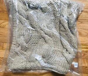 Pottery Barn Bluma Pillow Cover Neutral 22 sq Cable Stitch Hand Knit Tassel
