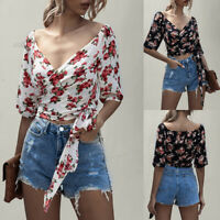 Summer Women's Floral V Neck Crop Tops T-Shirt Ladies Sexy Short Sleeve Blouse