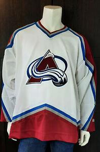 White 2003 CCM Colorado Avalache Paul Kariya Jersey Real Crest Adult sz Large