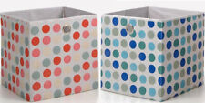 2x Faltbox Klappbox 32x32 blau rosa Punkte Stoff 2er-Set Regalbox Korb Sammelbox