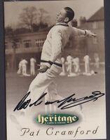 30 1996 Futera Cricket Heritage Collection Signature Card Pat Crawford
