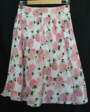 LAURA ASHLEY ~ White Linen Blend Pink Roses Floral 50's Look Full Skirt 6