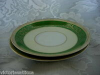 Set of 2 Vintage JYOTO Green Pattern Fine China Saucers / Plates - Made in Japan