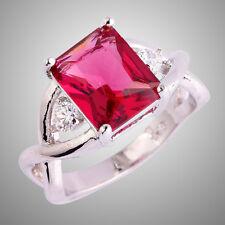 Size L N P R T V Ruby Spinel & White Topaz Gemstone Silver Ring Emerald Cut N/R