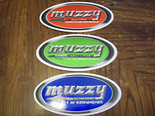SET OF 3 MUZZY DECALS  BOWHUNTING # 1 IN BROADHEADS # 1 IN BOWFISHING