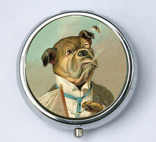 Bulldog smoking Dog PILL case pill box pillbox holder anthromorphic cute kitsch