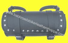 STUDDED LEATHER MOTORCYCLE TOOL BAG LARGE 12X5X5