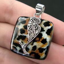 Stylish LEOPARD SKIN PRINT Resin & 925 Sterling Silver Pedant in WHALE Design
