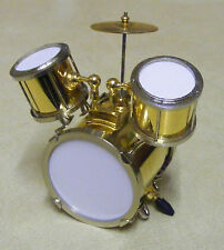 1:12 Scale Gold Coloured Drum Set Kit Tumdee Dolls House Music Instrument 548