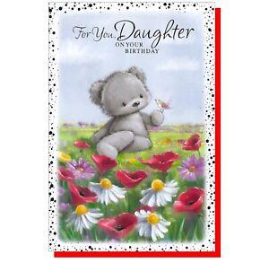 "Daughter Birthday Card - Grey Bear & Flowers Female Ladies - 7.5""x5"" SIMON ELVIN"