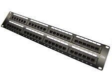 Premium 48 Port Cat5e Rj45 110 Network Steel Rack Mount 2U Patch Panel - Black