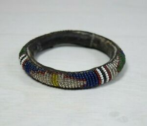 Vintage Decorative Handmade Leather Beaded Bracelet Folk Costume