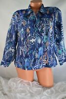 RUBY RD. PETITE (16) Full Zip Front Jacket Semi Sheer BLUE TEAL Abstract Print