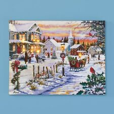 "LED Lighted ""Bringing Home the Tree"" Victorian Christmas Scene Canvas Wall Art"