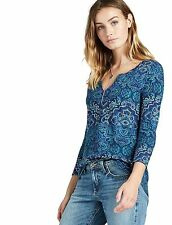 Lucky Brand - XS - NWT - Blue Watercolor Carpet Tee - Scarf Print Knit Top