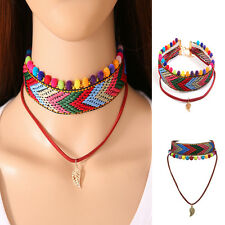 Bohemian Colorful Women Tassel Leather Woven Rope Collar Leaf Necklace Jewelry