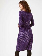 Ex White Stuff Womens Blue Purple Mandina Wrap Dress Jersey Size 6-18 rrp £49.95
