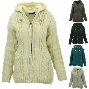 Women's Wool Cable Knit Hooded Jacket LoudElephant Coat Hoodie Lined Cardigan