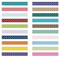 10mm x 25 metre Full Roll Grosgrain ribbon Polka Dot dots spot - various colours