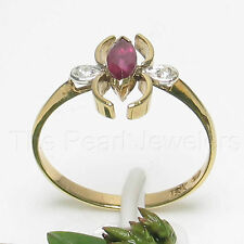 14k Yellow Solid Gold Genuine Diamonds & Marquise Natural Red Ruby Ring TPJ