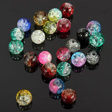 FT- Wholesale 100Pcs Stunning DIY Decoration Crystal 8mm Round Crack Glass Beads