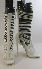 """White 5""""high heel open toe  ankle straps long mid-calf  sexy shoes Size  7"""