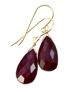 Ruby Earrings Rich Red Corundum Natural Pear Simple Drop 14k Solid Gold Sterling