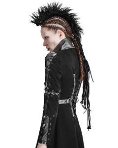 Punk Rave Womens Mohawk Headpiece Black Goth Dieselpunk Mohican Lace Dreadlocks