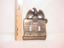 Vtg Metal Americana Lightswitch Plate Eagle John Adams Quote Double Toggle