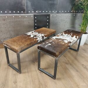 BESPOKE - Cowhide topped Steel dining table bench100x35cm -  handmade in the U.K