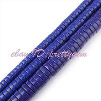"""Rondelle Lapis Lazuli Gemstone DIY Jewelry Making Spacer Loose Beads Strand 15"""""""