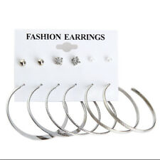 6Pairs/Set XXL Women Ear Stud Earrings Silver square Ear Huggie Hoops Dangle
