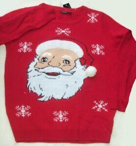 Herren Weihnachts Pullover rot mit dem Gesicht vom Weihnachtsmann Nikolaus Gr. M