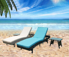 Beach Recliner Pool Rattan Chaise Lounge Chair+Table Outdoor Yard Patio Sun Bed
