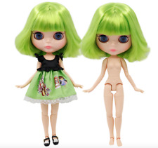 Short Neon Green Hair Blythe doll joint body 1/6 BJD 4 Changing Eyes