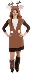 Elch Wildtier Tier Waldtier Rentier Hirsch Reh Geweih Kostüm Overall Kleid Damen