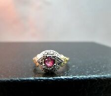 14k Yellow Gold Diamond Ring Pali Art Ceco Antique Size  Pink Stone 2.42g NICE!