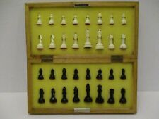 Vintage 60's Magnetic Chess Set Wood Metal Case With Plastic Pieces Complete