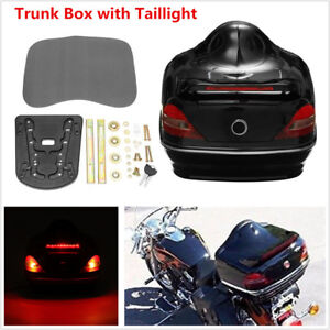 Motorcycle Trunk Box with Taillight Turn Signals For Honda Yamaha Suzuki