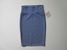 NWT LuLaRoe Cassie in Blue White Stripe Textured Jersey Pull-on Pencil Skirt XS