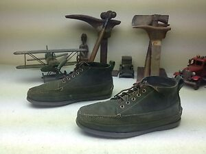 VINTAGE L.L. BEAN GREEN LEATHER LACE UP TRAIL HIKE PACKER CHUKKA BOOTS 10.5 D